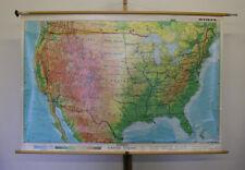 schöne alte Schulwandkarte USA Nordamerika 159x106cm ~1980 vintage US wall map