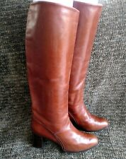"""Charles Jordan 18"""" equestrian brown leather high heeled knee-high boots size 7"""