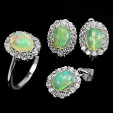 NATURAL 8x6mm. CABOCHON  AAA RAINBOW OPAL & WHITE CZ STERLING 925 SILVER SET