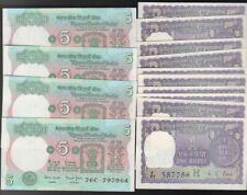 12+4 INDIA NOTES: 4- 5 Rup P80;12- 1 Rupee 1976 H P77r Kaul UNC Consec Nrs PpdUS