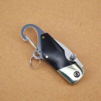 Mini Folding Knife Outdoor Camping Survival Ebony Handle KeyChain Pocket Black t