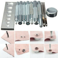 11pcs Set Die Punzone Foro Scatto Rivetto Bottone Setter Base Kit Per