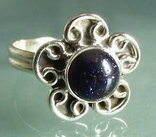 925 silver everyday BLUE SANDSTONE stone ring UK M¾/UK 6.75