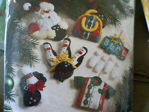 "Bucilla ""Bowling Santa"" Discontinued Felt Christmas Ornaments Kit New 86453 Rare"