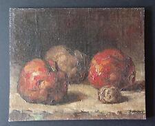 altes kleines Oelgemälde-Stillleben-Oel auf Karton-Äpfel/Walnuß-
