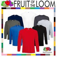 Men's Fruit of the Loom Long Sleeve T Shirt Plain Tee Shirt Top Cotton S-5XL