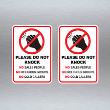 Do Not Knock Stickers x 2 No Sales People Religious Groups Cold Callers #N008