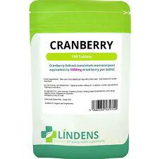 CRANBERRY Juice 100 schede 5000mg sano vescica vie urinarie SUGAR FREE Lindens