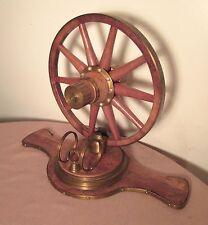antique handmade wood brass wagon wheel modern art table sculpture statue