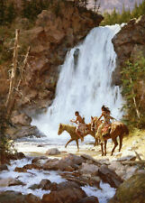 Howard Terpning CROSSING BELOW THE FALLS, w/remarque, giclee canvas #89/90