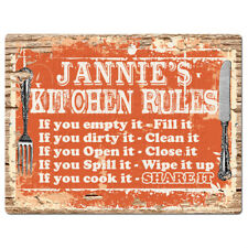 PPKR0944 JANNIE'S KITCHEN RULES Chic Sign Funny Kitchen Decor Birthday Gift