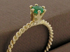 R253 Genuine 9ct 14K 18K Gold Natural Emerald Princess Stackable Rope Twist Ring