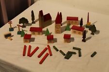Handmade Wooden Village Lot of 42 pcs with building, trees, fence