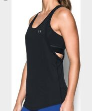 New Under Armour Womens Loose Fit Tank Top W/ Sports Bra 1290807 Run $50 S Black
