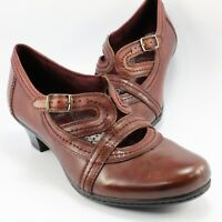 Bass CORRIE Strappy Pumps Womens Size 9.5M Burgundy-Brown Leather Mary Jane Shoe