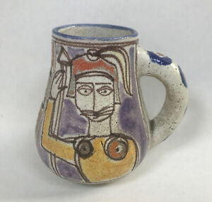 Vintage Desimone Italy Hand Painted Abstract Mug Vase Picasso Style De Simone