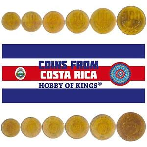 SET OF 6 COINS FROM COSTA RICA: 5, 10, 25, 50, 100, 500 COLONES. 1995-2017