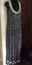 yumi long maxi dress, dark grey and cream flowers, layered, with lace round neck