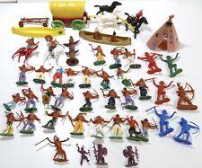 Vintage Plastic Indian Cowboy Canoe Wagon Toy Figures Timpo England & Hong Kong