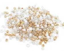 LOT 500 PERLES DE ROCAILLE DORE OR BLANC - Ø 4 mm 6/0 - CREATION BIJOUX