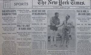 BABE RUTH ACCEPTS $160,000 FOR 2 YEARS NY YANKEES March 9, 1930 COLONEL RUPPERT