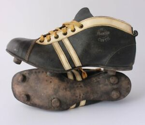 Vintage Bata Cup Tie Leather Football Boots. Old Soccer Shoes Cleats c1950