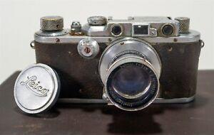 Vintage 1935 Black/Chrome Leica IIIa Model G 35mm Film Camera s/n 163274
