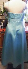 Davids Bridal turquoise satin formal cocktail bridesmaids tea length dress 8