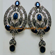 Gorgeous Vintage 2.98ct Rose Cut Diamond Sapphire Studded Silver Earring Jewelry