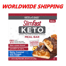 SlimFast Nutty Caramel & Nougat Keto Meal Replacement Bars 5 Ct WORLD SHIPPING