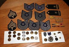 Group of Military Patches Medals Brass & Silver Pins