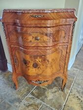 Serafino Marelli Inlaid Wood Ormolu Marble top Bombe Chest with Lock from Italy