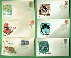 #SS.  #2.  SIX  1960s  ROYAL / WCS ENVELOPE COVERS - AUSTRALIAN ANIMALS & PLANTS