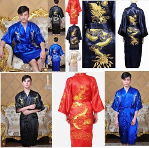 Chinese Double-Face Silk Satin Men's Kimono Robe Gown Bathrobe Dress Pajamas Hot
