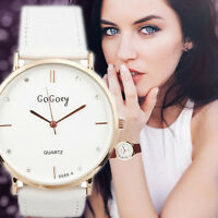 Fashion Men's Women's Stainless Steel Leather Crystal Quartz Analog Wrist Watch