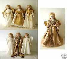 Lot of 7 Porcelain Dolls Heritage Mint Collection 5 Stands - Stamped - Christmas