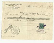 ANTICA  FATTURA SOCIETA' DI MACINAZIONE MOLINI CERTOSA DI MILANO 1932 MARCA BOLL