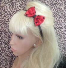 """NEW RED SATIN POLKA DOT SPOT TULLE NET SMALL 3"""" SIDE BOW ALICE HAIR HEAD BAND"""