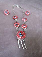 Native ZUNI Coral SunFace Kachina Necklace & Earrings by Marisa Cellicion JN293