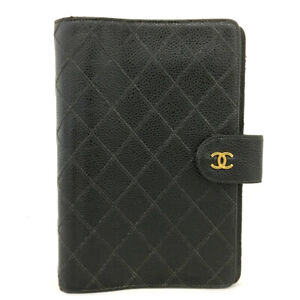 CHANEL Quilted Bicolore Black Caviar Skin Agenda Notebook Cover /A0487