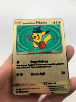 Fan custom golden metal card pokemon illustrator pikachu gold corocoro 1998