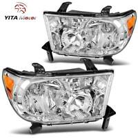 YITAMOTOR For 2007-2013 Toyota Tundra 2008-2017 Sequoia Headlights Chrome Lamps