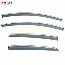 4pc Smoke w/ Chrome Trim Sun/Rain Guard Vent Shade Window Visor Fit 13-19 Fusion