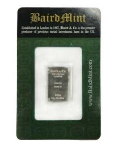 Baird & Co 1/10oz Bar .999 Rhodium  in assay card