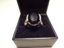 # 461- VINTAGE STERLING SILVER BLACK ONYX RING-SIZE-7-925-WITH INITIAL AND STAMP