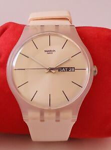 Swatch sr1130sw Analog Display Quartz Watch W/ Day Date, working Peach