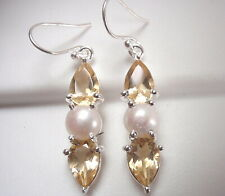 Faceted Citrine and Cultured Pearl 925 Sterling Silver Dangle 3-Gem Earrings