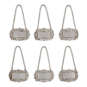 Silver Floral Blank Decanter Labels Plain Liquor Bottle Label Tag Set of 6 Tags