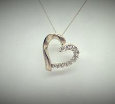 "Ladies 9ct Yellow Gold CZ Heart Pendant 18"" Chain Necklace RRP £90 Ex-Argos"