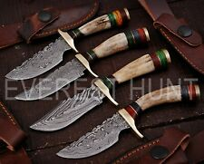 "LOT OF 4 | 6"" EH CUSTOM MADE DAMASCUS STEEL HUNTING SKINNER KNIFE 